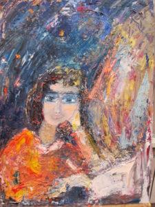 Картина - девушка мечтает над книгой под звездным небом