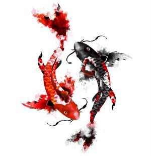 Японские рыбки - красная и чёрная